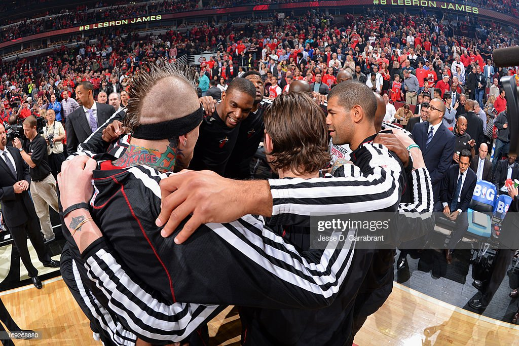 Chris Andersen #11 and the Miami Heat huddle up before the game against the Chicago Bulls in Game Three of the Eastern Conference Quarterfinals during the 2013 NBA Playoffs on May 10, 2013 at United Center in Chicago, Illinois.
