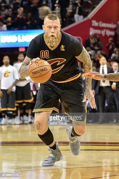 Chris Andersen of the Cleveland Cavaliers controls the ball against the New York Knicks on October 25 2016 at Quicken Loans Arena in Cleveland Ohio...