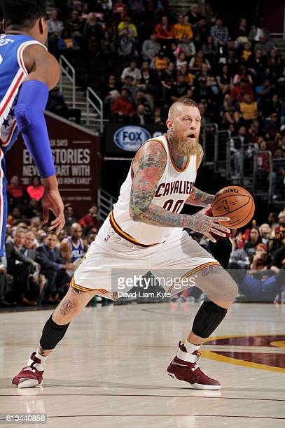 Chris Andersen of the Cleveland Cavaliers handles the ball during a preseason game against the Philadelphia 76ers on October 8 2016 at Quicken Loans...