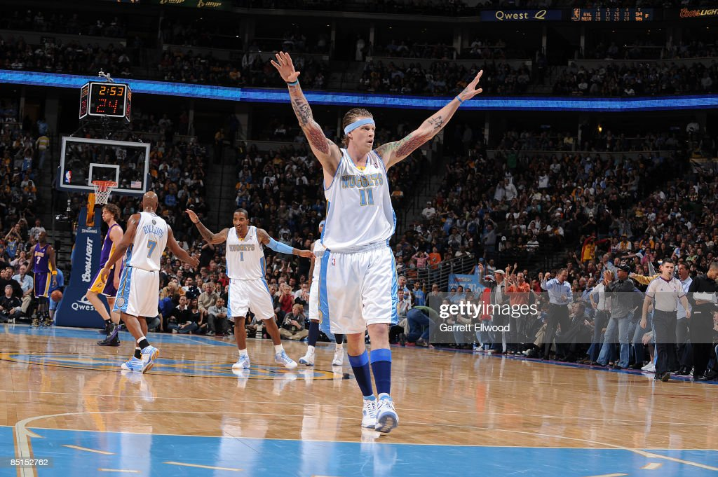 <a gi-track='captionPersonalityLinkClicked' href=/galleries/search?phrase=Chris+Andersen+-+Basketballer&family=editorial&specificpeople=12319595 ng-click='$event.stopPropagation()'>Chris Andersen</a> #11 of the Denver Nuggets celebrates a play against the Los Angeles Lakers on February 27, 2009 at the Pepsi Center in Denver, Colorado.