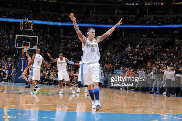 Chris Andersen of the Denver Nuggets celebrates a play against the Los Angeles Lakers on February 27 2009 at the Pepsi Center in Denver Colorado NOTE...