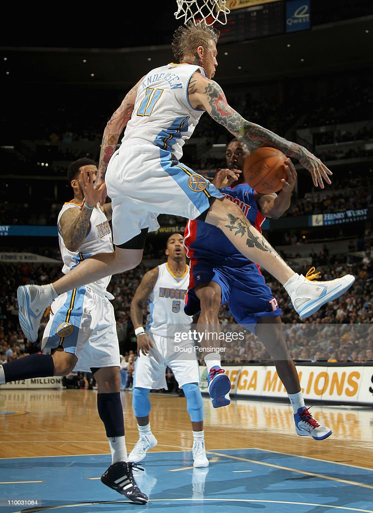 Chris Andersen #11 of the Denver Nuggets guards the route to the basket as he defends against Ben Gordon #12 of the Detroit Pistons at the Pepsi Center on March 12, 2011 in Denver, Colorado. The Nuggets defeated the Pistons 131-101.
