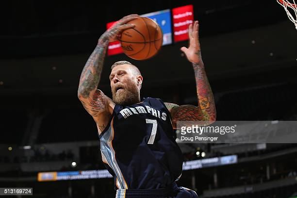 Chris Andersen of the Memphis Grizzlies grabs a rebound against the Denver Nuggets at Pepsi Center on February 29 2016 in Denver Colorado The...