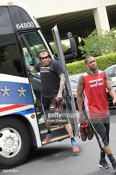 Chris Andersen of the Miami Heat arrives to practice as part of the 2014 NBA Finals on June 6 2014 at the Spurs Practice Facility in San Antonio...