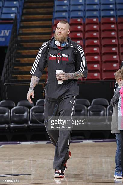 Chris Andersen of the Miami Heat arrives to the arena prior to the game against the Sacramento Kings on January 16 2015 at Sleep Train Arena in...