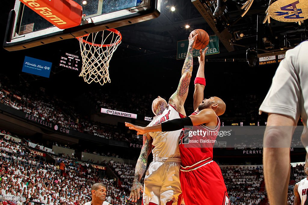 Chris Andersen #11 of the Miami Heat blocks a shot by <a gi-track='captionPersonalityLinkClicked' href=/galleries/search?phrase=Taj+Gibson&family=editorial&specificpeople=4029461 ng-click='$event.stopPropagation()'>Taj Gibson</a> #22 of the Chicago Bulls in Game Two of the Eastern Conference Semifinals during the 2013 NBA Playoffs on May 8, 2013 at American Airlines Arena in Miami, Florida.