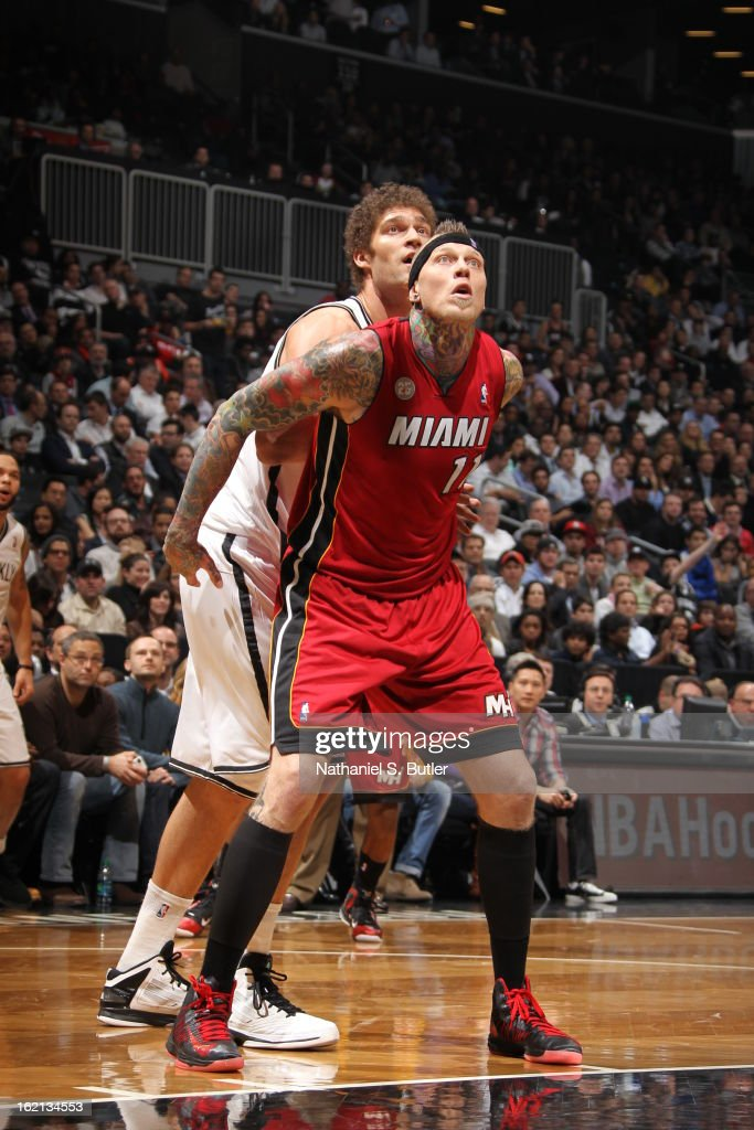 Chris Andersen #11 of the Miami Heat boxes out Brook Lopez #11 of the Brooklyn Nets on January 30, 2013 at the Barclays Center in the Brooklyn borough of New York City.