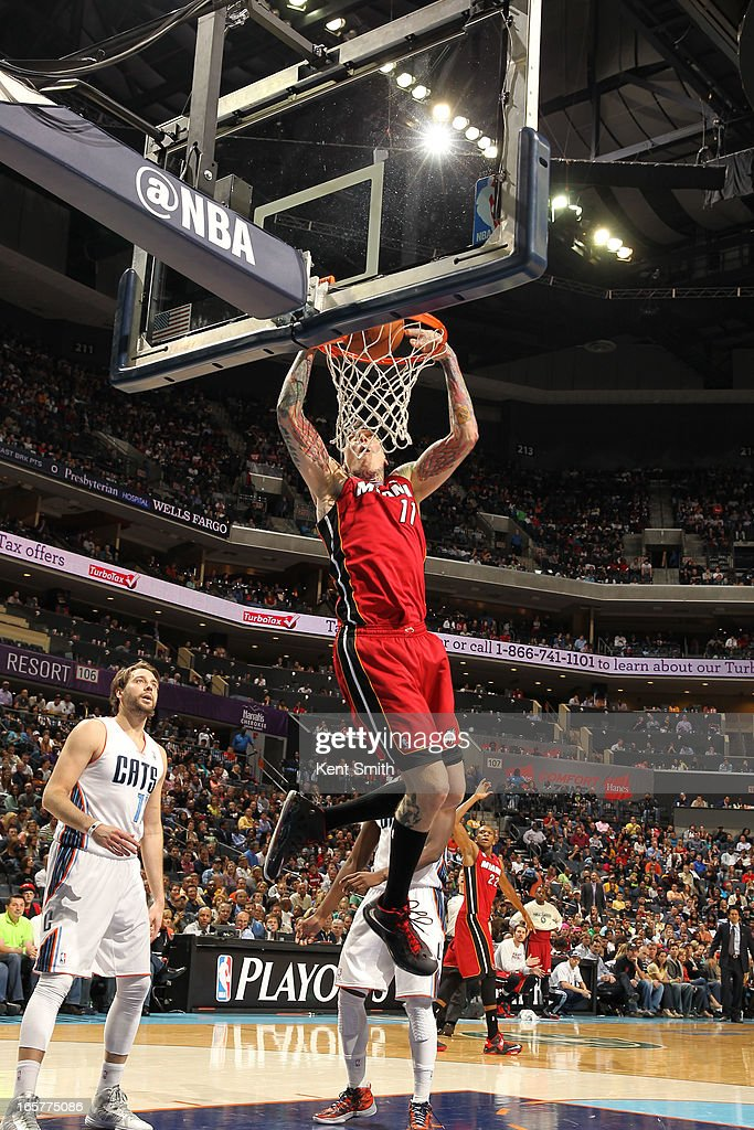 Chris Andersen #11 of the Miami Heat dunks against the Charlotte Bobcats at the Time Warner Cable Arena on April 5, 2013 in Charlotte, North Carolina.