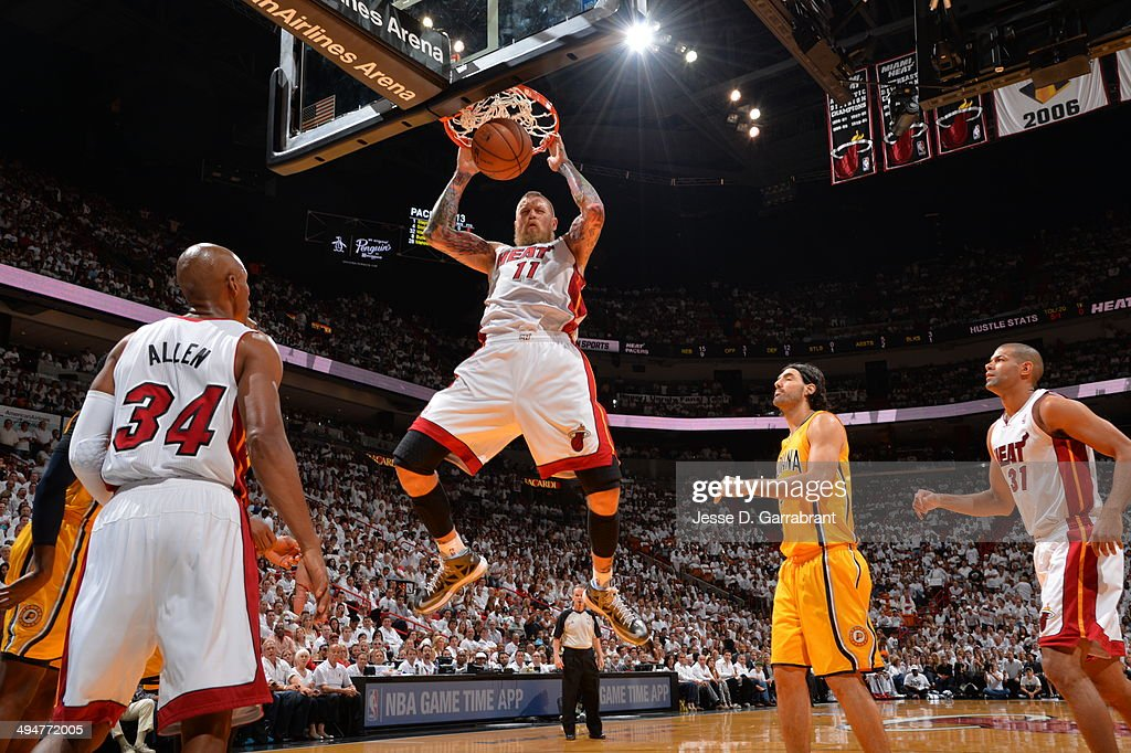 Chris Andersen #11 of the Miami Heat dunks the ball against the Indiana Pacers in Game Six of the Eastern Conference Finals during the 2014 NBA Playoffs on May 30, 2014 in Miami, Fl.