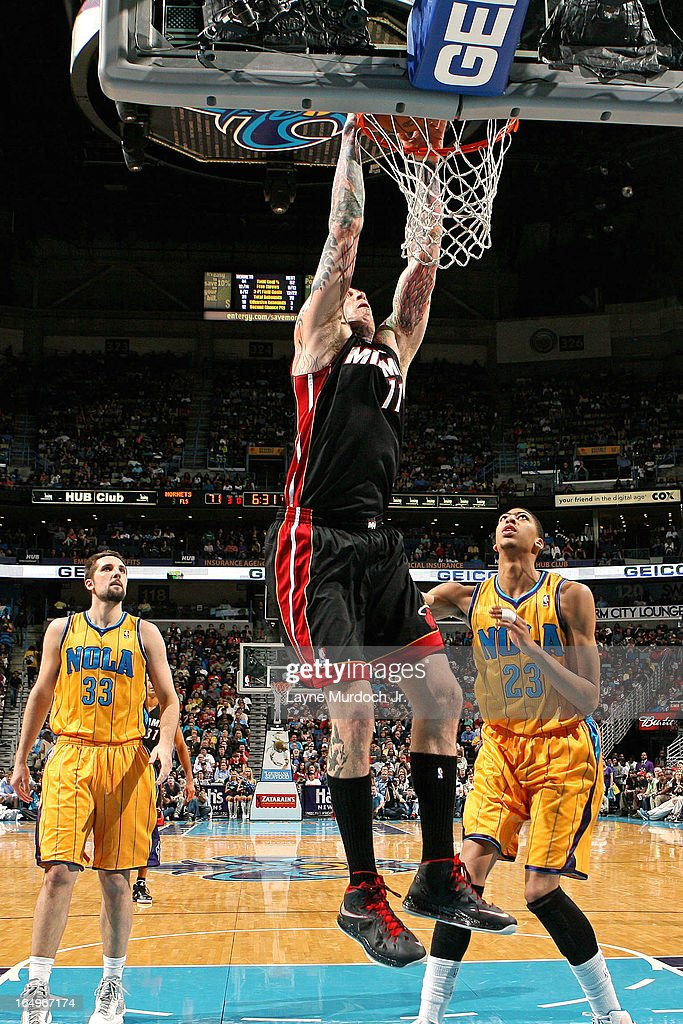 <a gi-track='captionPersonalityLinkClicked' href=/galleries/search?phrase=Chris+Andersen+-+Basketball+Player&family=editorial&specificpeople=12319595 ng-click='$event.stopPropagation()'>Chris Andersen</a> #11 of the Miami Heat dunks the ball against the New Orleans Hornets on March 29, 2013 at the New Orleans Arena in New Orleans, Louisiana.