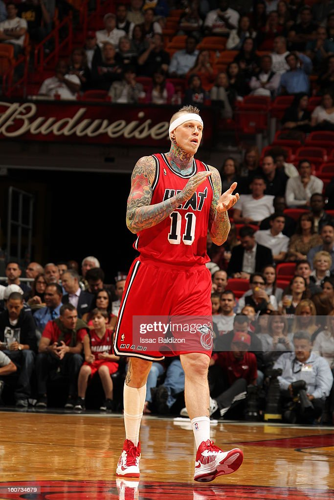 Chris Andersen #11 of the Miami Heat gets excited after a play against the Charlotte Bobcats during a game on February 4, 2013 at American Airlines Arena in Miami, Florida.