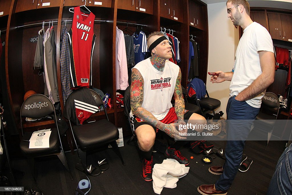 <a gi-track='captionPersonalityLinkClicked' href=/galleries/search?phrase=Chris+Andersen+-+Basketballer&family=editorial&specificpeople=12319595 ng-click='$event.stopPropagation()'>Chris Andersen</a> #11 of the Miami Heat gets ready before the game against the Brooklyn Nets on January 30, 2013 at the Barclays Center in the Brooklyn borough of New York City.