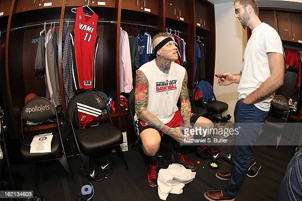Chris Andersen of the Miami Heat gets ready before the game against the Brooklyn Nets on January 30 2013 at the Barclays Center in the Brooklyn...