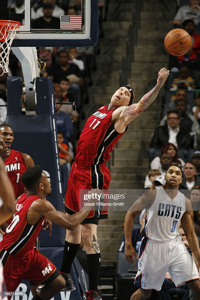 Chris Andersen #11 of the Miami Heat goes up for a rebound against the Charlotte Bobcats at the Time Warner Cable Arena on April 5, 2013 in Charlotte, North Carolina.
