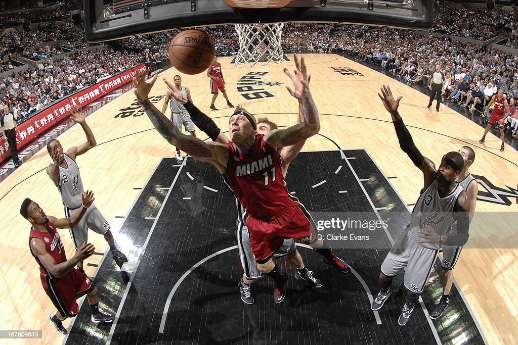 Chris Andersen #11 of the Miami Heat goes up for a rebound against the San Antonio Spurs on March 31, 2013 at the AT&T Center in San Antonio, Texas.