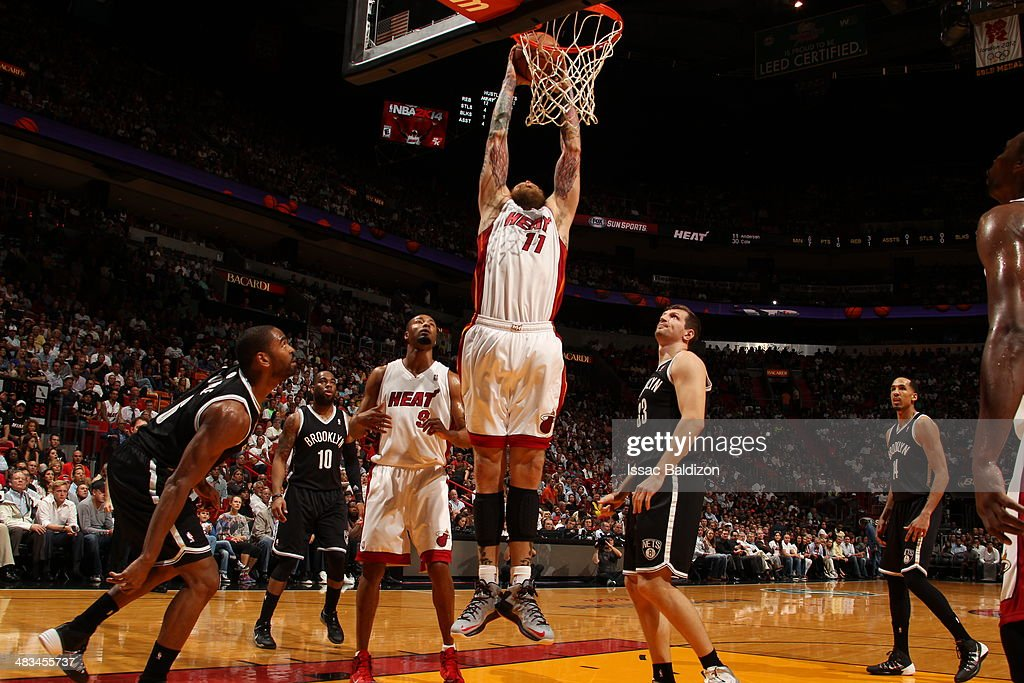 Chris Andersen #11 of the Miami Heat goes up for the dunk against the Brooklyn Nets during game on April 8, 2014 at American Airlines Arena in Miami, Florida.