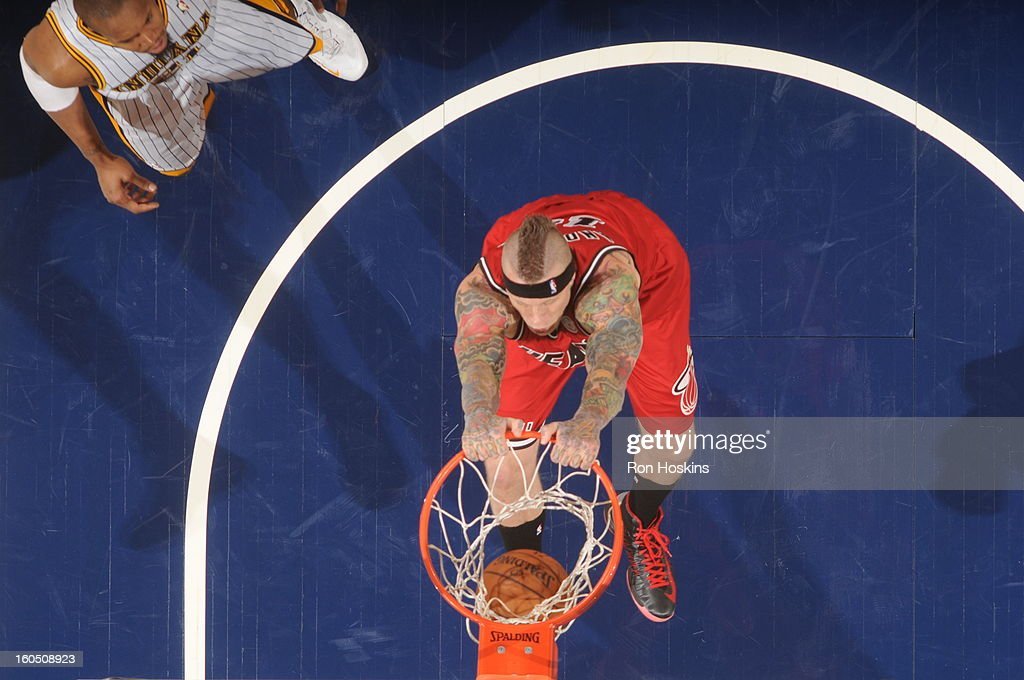Chris Andersen #11 of the Miami Heat goes up for the slam dunk against the Indiana Pacers on February 1, 2013 at Bankers Life Fieldhouse in Indianapolis, Indiana.