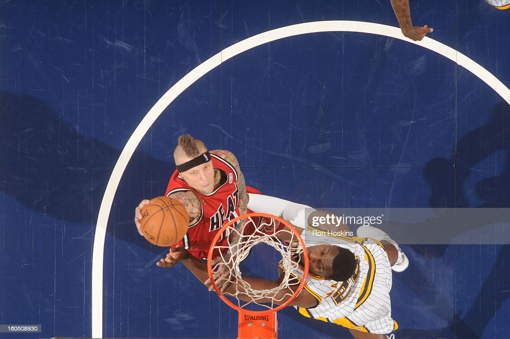 Chris Andersen #11 of the Miami Heat goes up for the slamdunk against the Indiana Pacers on February 1, 2013 at Bankers Life Fieldhouse in Indianapolis, Indiana.