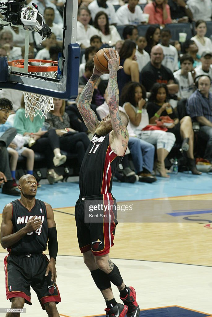 Chris Andersen #11 of the Miami Heat grabs a rebound against the Charlotte Bobcats during Game Three of the Eastern Conference Quarterfinals of the 2014 NBA playoffs at the Time Warner Cable Arena on April 26, 2014 in Charlotte, North Carolina.