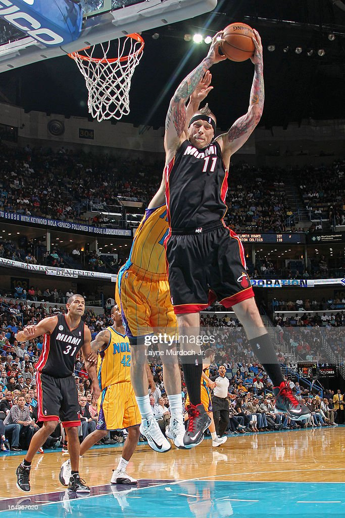 <a gi-track='captionPersonalityLinkClicked' href=/galleries/search?phrase=Chris+Andersen+-+Basketball+Player&family=editorial&specificpeople=12319595 ng-click='$event.stopPropagation()'>Chris Andersen</a> #11 of the Miami Heat grabs a rebound against the New Orleans Hornets on March 29, 2013 at the New Orleans Arena in New Orleans, Louisiana.