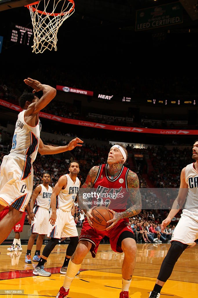 Chris Andersen #11 of the Miami Heat head pumps against the Charlotte Bobcats during a game on February 4, 2013 at American Airlines Arena in Miami, Florida.
