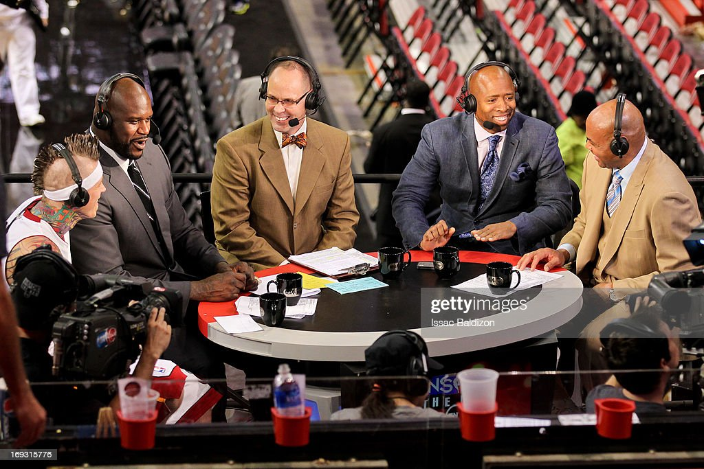 Chris Andersen #11 of the Miami Heat, left, shares a laugh while being interviewed by TNT analysts, from left, Shaquille O'Neal, Ernie Johnson Jr., Kenny Smith and Charles Barkley following the Heat's victory against the Indiana Pacers in Game One of the Eastern Conference Finals during the 2013 NBA Playoffs on May 22, 2013 at American Airlines Arena in Miami, Florida.