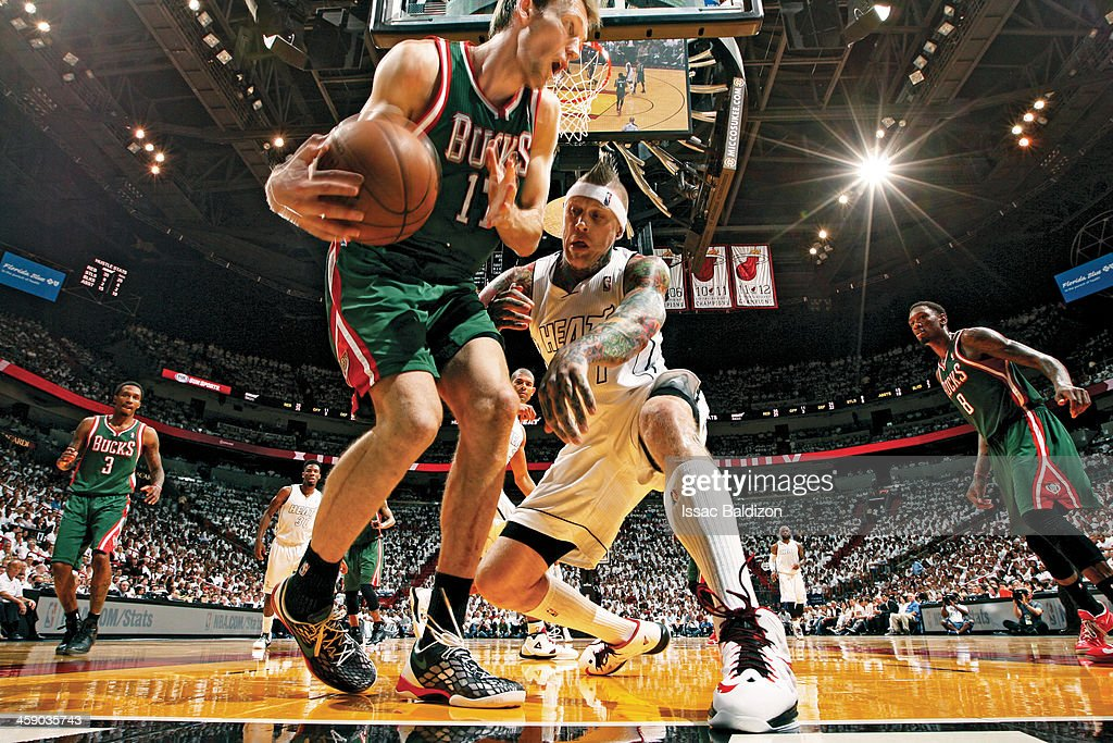 Chris Andersen #11 of the Miami Heat looks to push Mike Dunleavy #17 of the Milwaukee Bucks in Game Two of the Eastern Conference Quarterfinals during the 2013 NBA Playoffs on April 23, 2013 at American Airlines Arena in Miami, Florida.