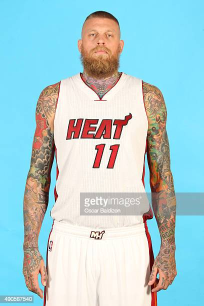 Chris Andersen of the Miami Heat poses for a portrait during the 2015 Media Day on September 28 2015 at the American Airlines Arena in Miami Florida...