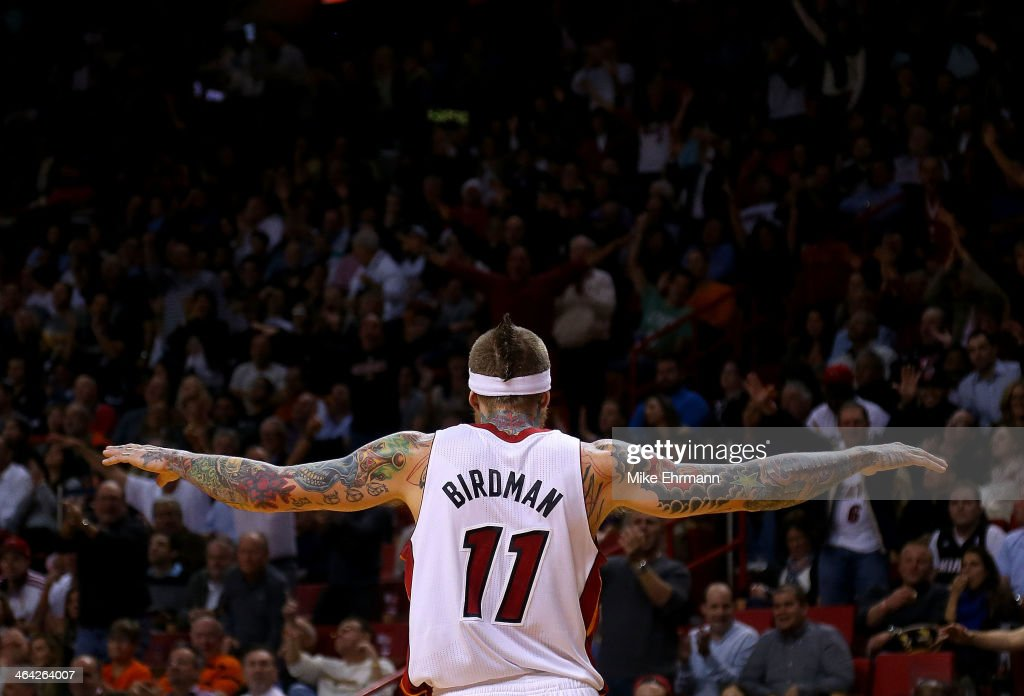 Chris Andersen (11) of the Miami Heat reacts to a block during a game against the Boston Celtics at AmericanAirlines Arena on January 21, 2014 in Miami, Florida.