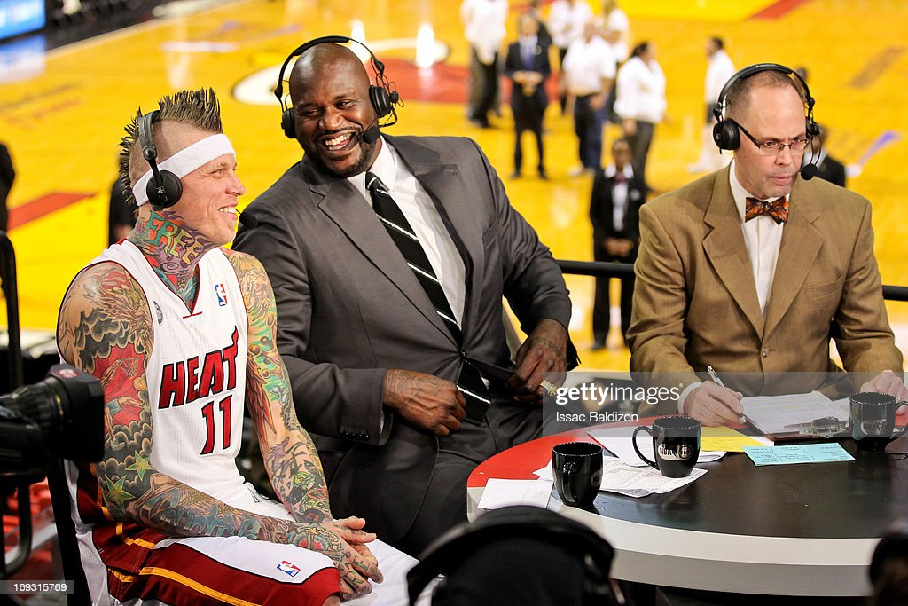 Chris Andersen #11 of the Miami Heat shares a laugh with TNT analyst and former NBA player Shaquille O'Neal following the Heat's victory against the Indiana Pacers in Game One of the Eastern Conference Finals during the 2013 NBA Playoffs on May 22, 2013 at American Airlines Arena in Miami, Florida.