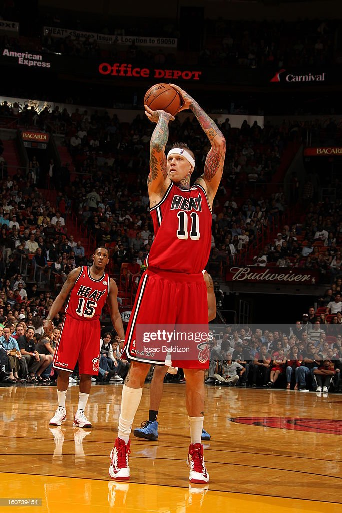 Chris Andersen #11 of the Miami Heat shoots a foul shot against the Charlotte Bobcats during a game on February 4, 2013 at American Airlines Arena in Miami, Florida.