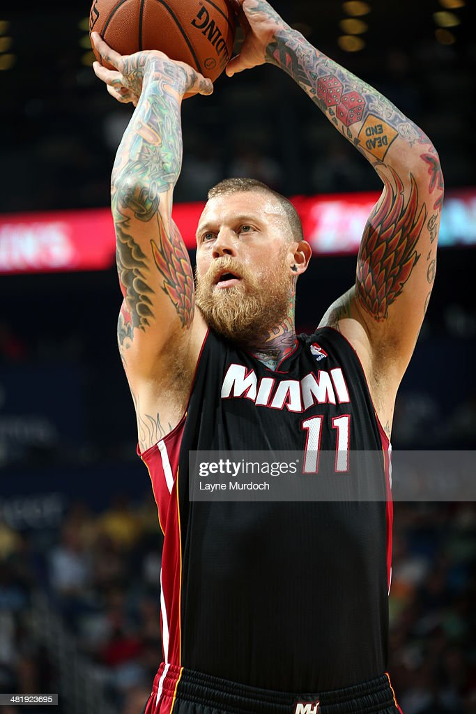 Chris Andersen #11 of the Miami Heat shoots a free throw during the game against the New Orleans Pelicans on March 22, 2014 at the Smoothie King Center in New Orleans, Louisiana.