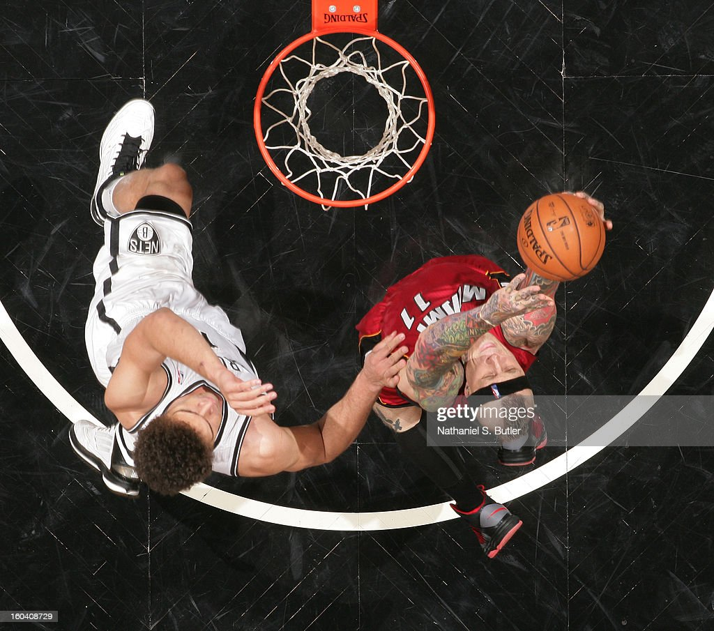 Chris Andersen #11 of the Miami Heat shoots against Brook Lopez #11 of the Brooklyn Nets on January 30, 2013 at the Barclays Center in the Brooklyn borough of New York City.