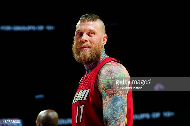 Chris Andersen of the Miami Heat smiles during a game against the Detroit Pistons on February 3 2015 at The Palace of Auburn Hills in Auburn Hills...