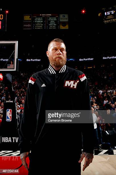 Chris Andersen of the Miami Heat stands stands for the national anthem before a game against the Portland Trail Blazers on January 8 2015 at the Moda...