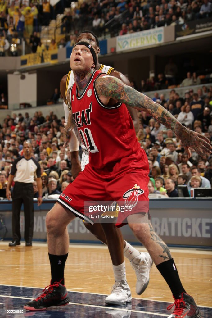Chris Andersen #11 of the Miami Heat waits for a rebound against the Indiana Pacers on February 1, 2013 at Bankers Life Fieldhouse in Indianapolis, Indiana.