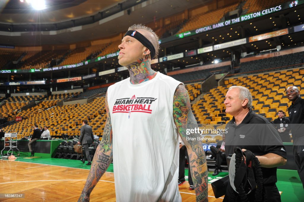 Chris Andersen #11 of the Miami Heat walks out before the game against the Boston Celtics on January 27, 2013 at the TD Garden in Boston, Massachusetts.