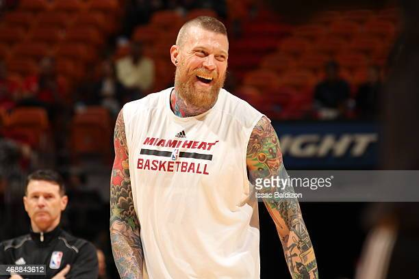 Chris Andersen of the Miami Heat warms up before the game against the Charlotte Hornets on April 7 2015 at American Airlines Arena in Miami Florida...