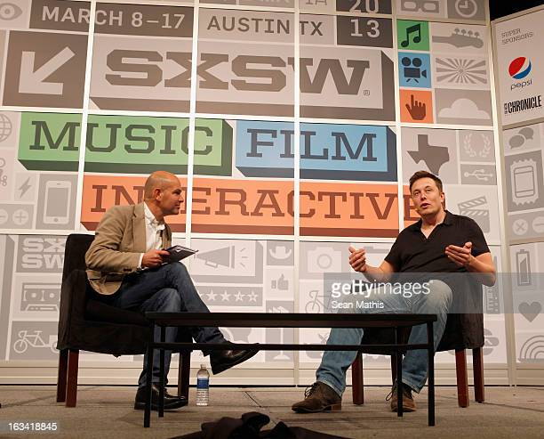 Chris Anderson and Elon Musk founder of SpaceX cofounder of Tesla Motors and PayPal speak onstage at the Elon Musk Keynote during the 2013 SXSW Music...