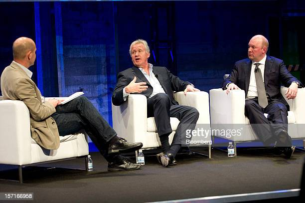 Chris Anderson editorinchief Wired Magazine left and and Marc Andreessen cofounder and partner Andreessen Horowitz right listen to Jeffrey 'Jeff'...