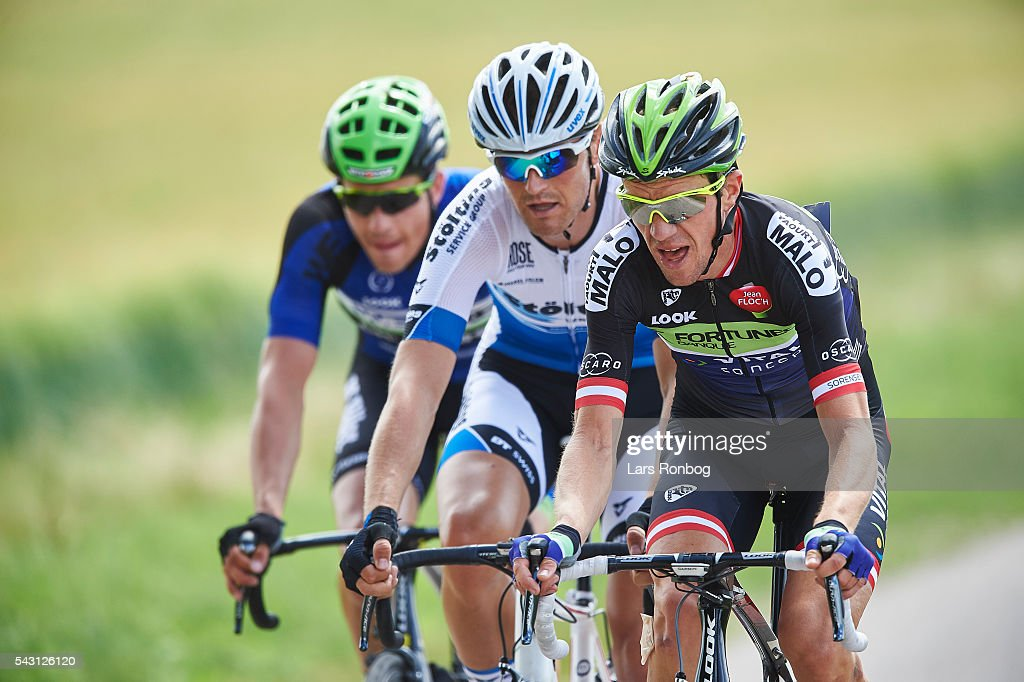 Chris Anker Sorensen of Fortuneo Vital Concept leads the breakaway during the Elite Men Road Race Championships on day three of the Danish Cycling Championships on June 26, 2016 in Vordingborg, Denmark.