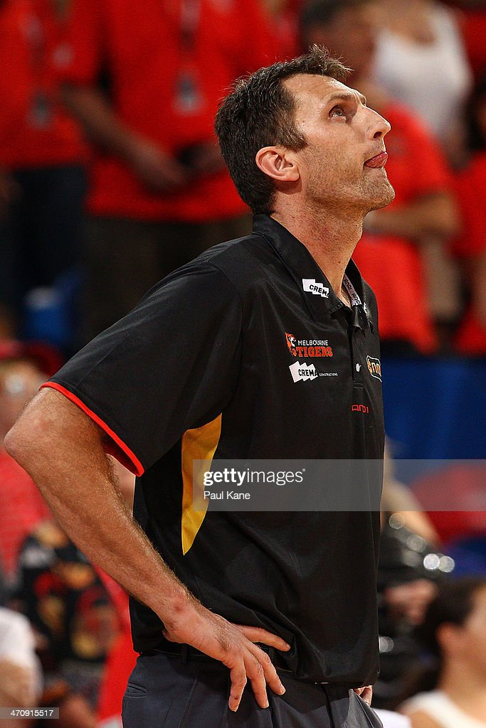 Chris Anstey, coach of the Tigers looks to scoreboard during the round 19 NBL match between the Perth Wildcats and the Melbourne Tigers at Perth Arena on February 21, 2014 in Perth, Australia.