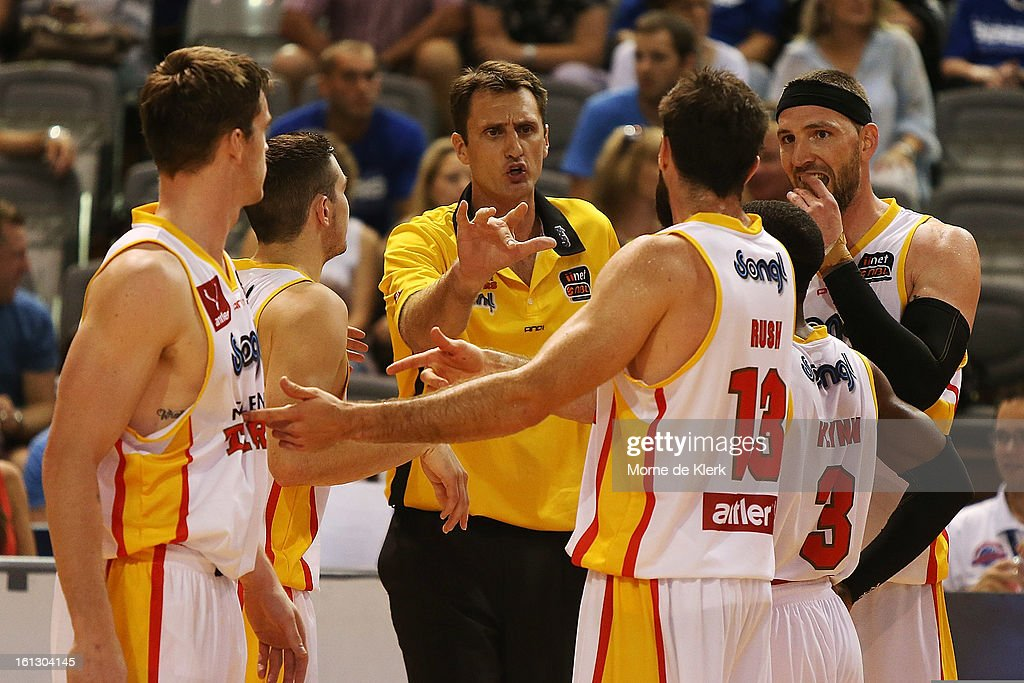Chris Anstey of the Tigers talks to his team during the round 18 NBL match between the Adelaide 36ers and the Melbourne Tigers at Adelaide Arena on February 10, 2013 in Adelaide, Australia.