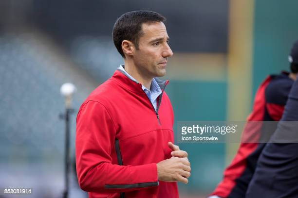 Chris Antonetti President of the Cleveland Indians on the field during batting practice prior to the 2017 American League Divisional Series Game 1...