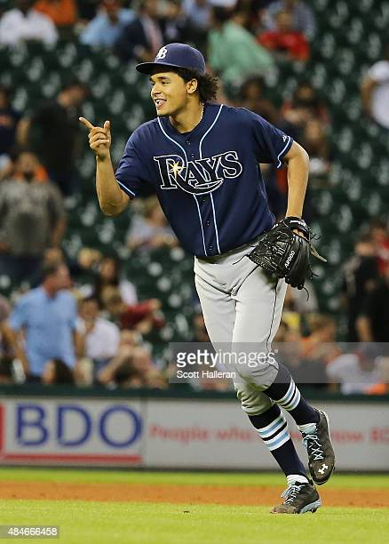 Chris Archer of the Tampa Bay Rays celebrates his onehit complete game shutout as the Rays defeated the Houston Astros 10 at Minute Maid Park on...