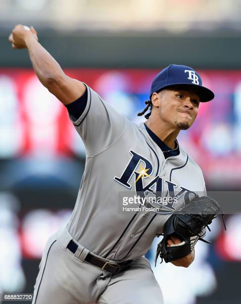 Chris Archer of the Tampa Bay Rays delivers a pitch against the Minnesota Twins during the third inning of the game on May 26 2017 at Target Field in...