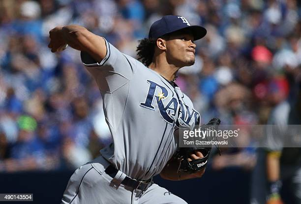 Chris Archer of the Tampa Bay Rays delivers a pitch in the first inning during MLB game action against the Toronto Blue Jays on September 26 2015 at...