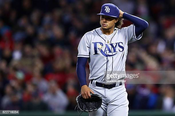 Chris Archer of the Tampa Bay Rays exits the game during the fifth inning against the Boston Red Sox at Fenway Park on April 20 2016 in Boston...