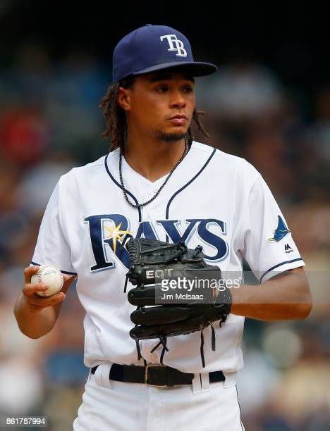 Chris Archer of the Tampa Bay Rays in action against the New York Yankees at Citi Field on September 13 2017 in the Flushing neighborhood of the...