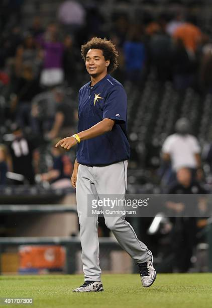 Chris Archer of the Tampa Bay Rays looks on after the game against the Detroit Tigers at Comerica Park on September 9 2015 in Detroit Michigan The...